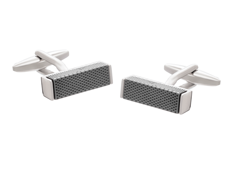 Textured Metal Block Cufflinks with Gun Metal Finish