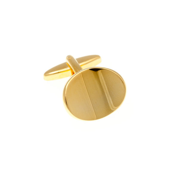 Abstract Oval Gilt Gold Plated Cufflinks by Elizabeth Parker England
