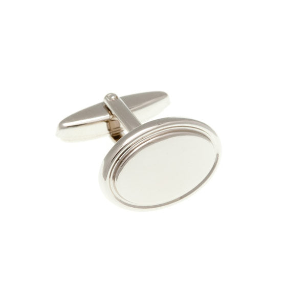 Oval Shaped Plain Metal Simply Metal Cufflinks by Elizabeth Parker England