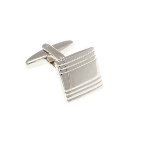 Squared Striped Parallel Lines Plain Metal Simply Metal Cufflinks by Elizabeth Parker England