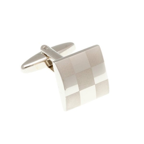 Chess Board Polished Satin Plain Metal Simply Metal Cufflinks by Elizabeth Parker England