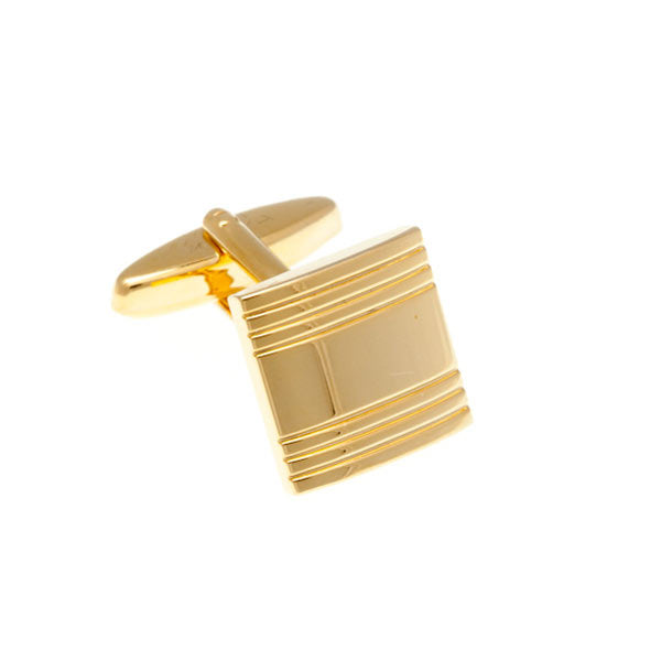 Striped Square Gold Plated Cufflinks by Elizabeth Parker England