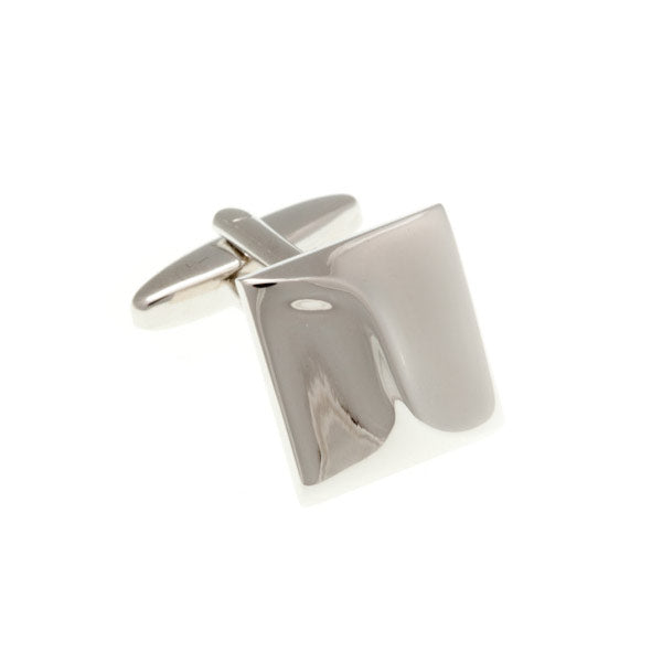 Abstract Wave Square Plain Metal Simply Metal Cufflinks by Elizabeth Parker England