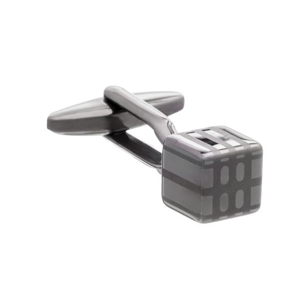 Abstract Cube Cufflinks in Gun Metal