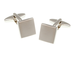 Brushed Square Cufflink and Silk Pocket Square Gift Set