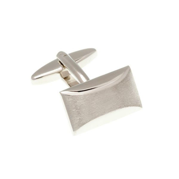 Brushed Finish Oblong Plain Metal Simply Metal Cufflinks by Elizabeth Parker England