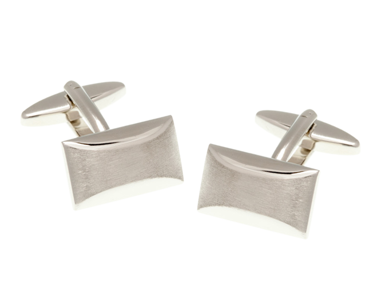 Brushed Finish Oblong Cufflinks