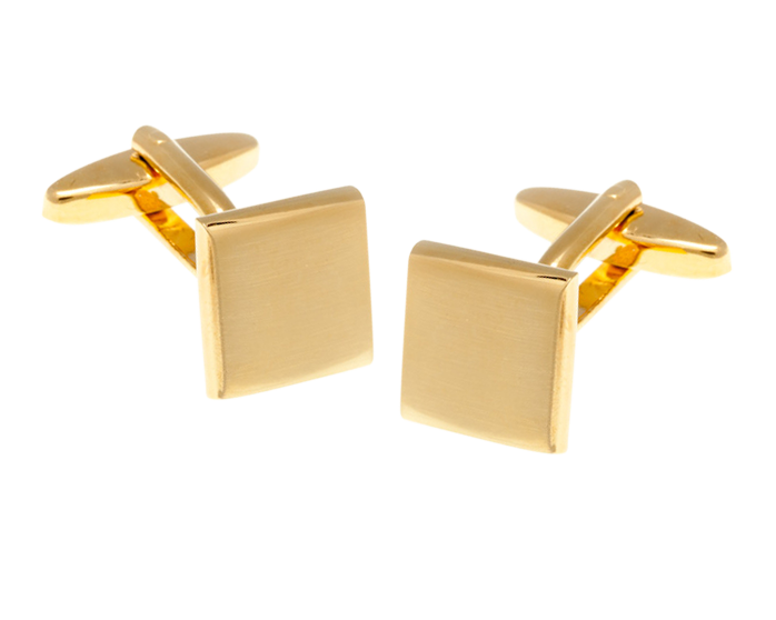 Square Brushed Gold Plated Cufflinks