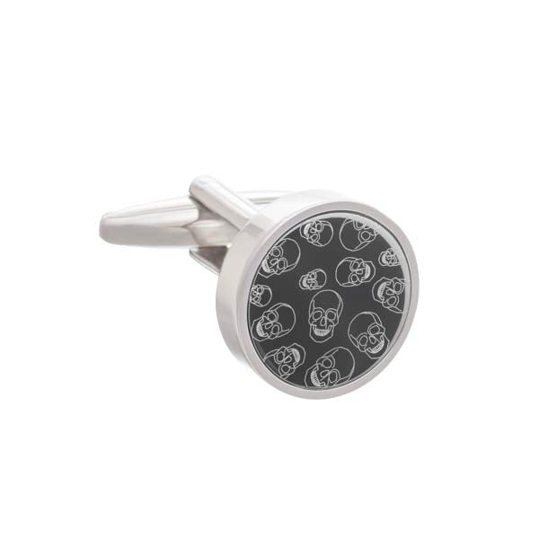 Round Cufflinks with randomly etched silver cheeky skull by Elizabeth Parker