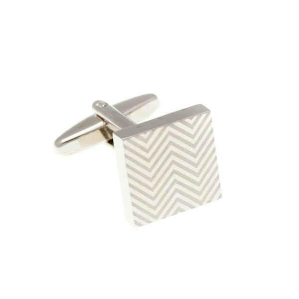 Herringbone Patterned Polished Satin Square Plain Metal Simply Metal Cufflinks by Elizabeth Parker England