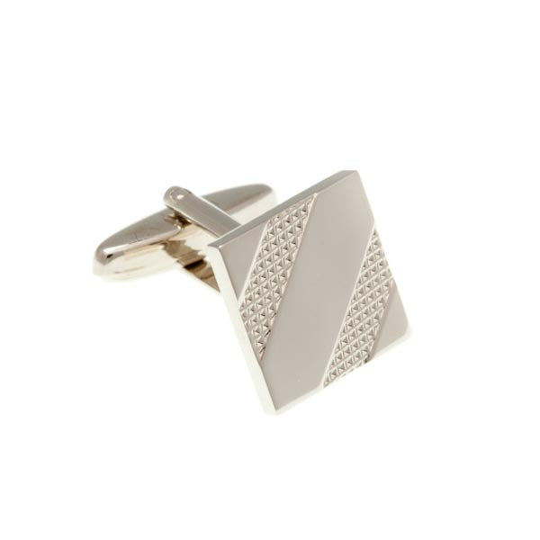 Tyre Tracks Polished Ribbon Square Simply Metal Cufflinks by Elizabeth Parker England