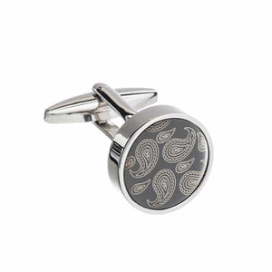 Paisley Patterned Gun Metal Round Plate Cufflinks by Elizabeth Parker