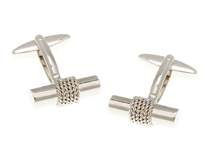 Rope Wrapped Tube Cufflinks