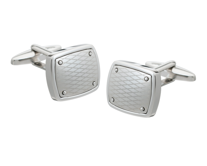 Etched Rivet Plate Square Cufflinks