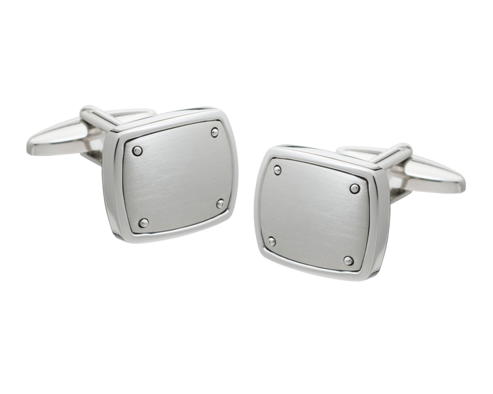 Brushed Finish Rivet Square Cufflinks
