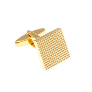 Grid Design Gold Plated Plain Metal Simply Metal Cufflinks by Elizabeth Parker England