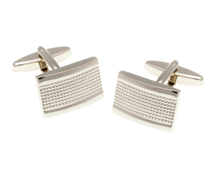 Industrial Oblong Shaped Simply Metal Cufflinks