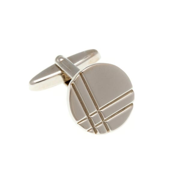 Crossed Lines Simply Metal Cufflinks by Elizabeth Parker England