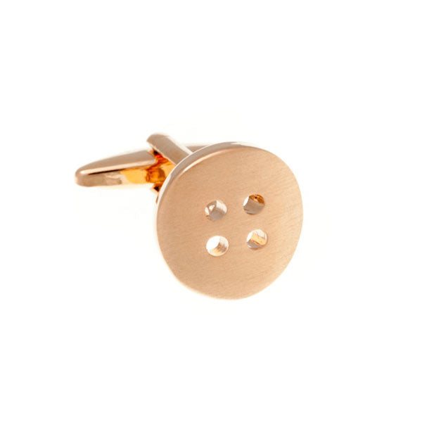 Rose Gold Plated Button Plain Metal Simply Metal Cufflinks by Elizabeth Parker England