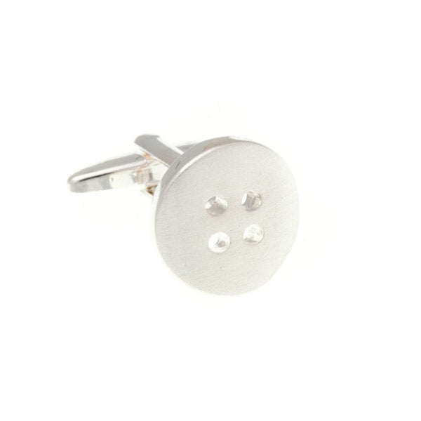 Button Plain Metal Simply Metal Cufflinks by Elizabeth Parker England