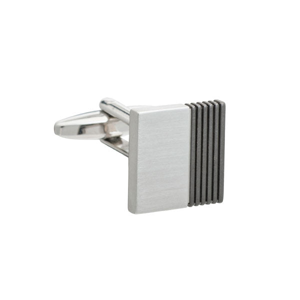 Gun Metal Inside Track Square Cufflinks by Elizabeth Parker