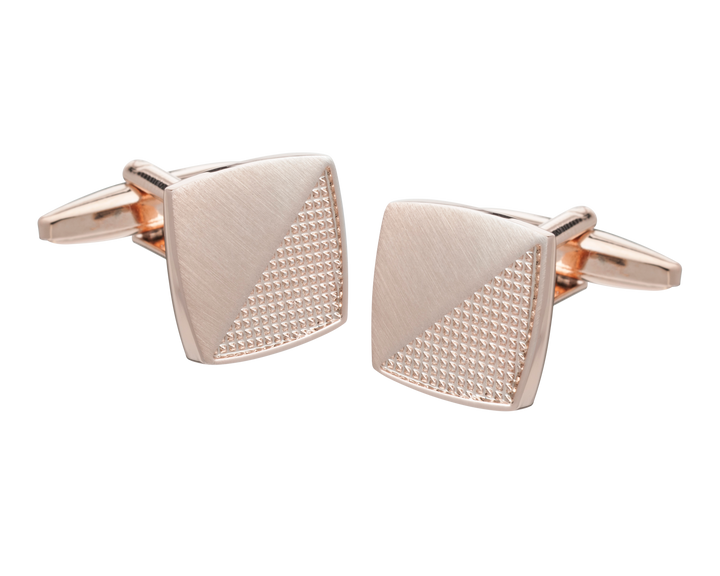 Rose Gold Rough and Smooth Square Cufflinks