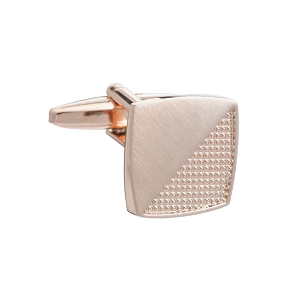 Rose Gold Rough and Smooth Square Cufflinks by Elizabeth Parker