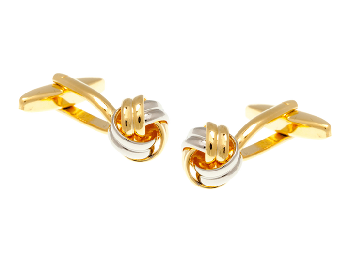 Gold Plated and Metal Intricate Woven Ribbon Cufflinks