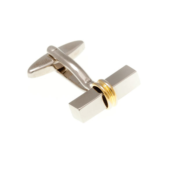 Bar & Ring and Gold Plated Simply Metal Cufflinks by Elizabeth Parker