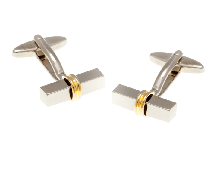 Gold Plated Central Ring Bar Cufflinks