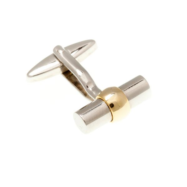 Gilt Gold Plated Bulb Tube Plain Metal Simply Metal Cufflinks by Elizabeth Parker England