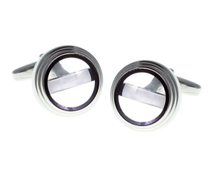 Black Rim Clear Glass Plate Cufflinks