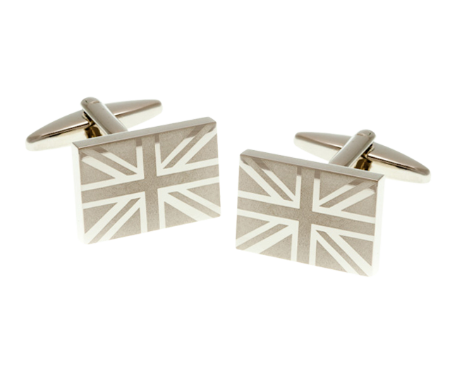 Union Jack Etched Cufflinks