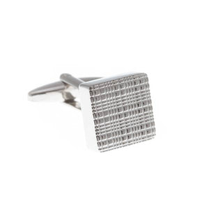 Square Simply Metal Cufflinks with Textured Face by Elizabeth Parker