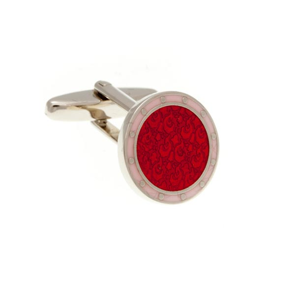 Embossed Red and Pink Round Enamel Cufflinks by Elizabeth Parker England