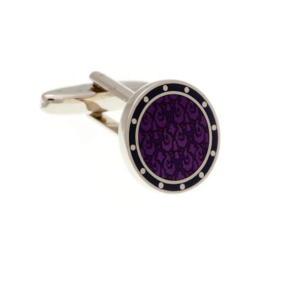 Embossed Purple and Blue Round Enamel Cufflinks by Elizabeth Parker England