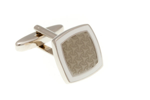 Soft Square Grey Enamel Plain Metal Enamel Cufflinks - by Elizabeth Parker England