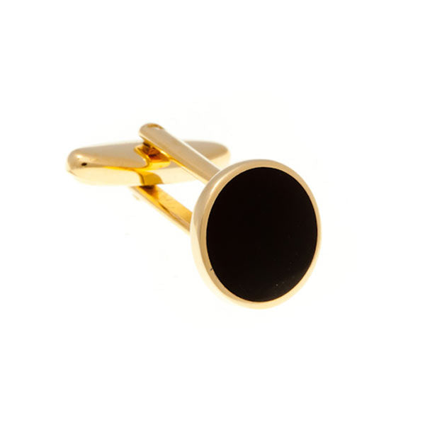 Round Gold Plated Cufflinks with Black Enamel Centre by Elizabeth Parker England