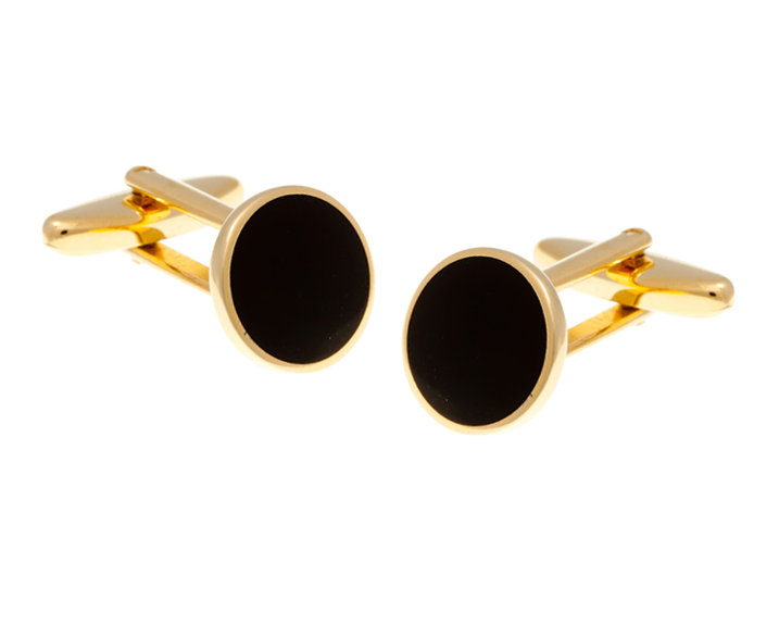 Round Gold Plated with Black Cufflinks