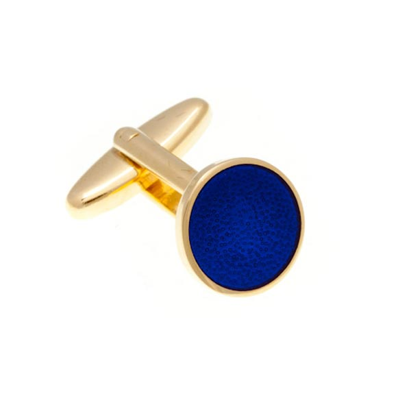 Round Gold Plated Enamel Cufflinks with Blue Enamel Centre by Elizabeth Parker England