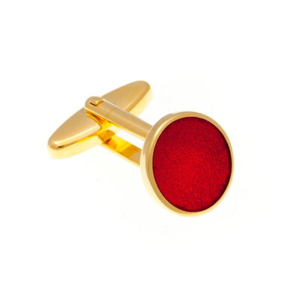 Round Gold Plated Cufflinks with Red Enamel Centre by Elizabeth Parker England