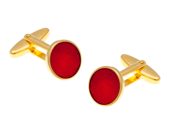 Round Gold Plated Red Cufflinks