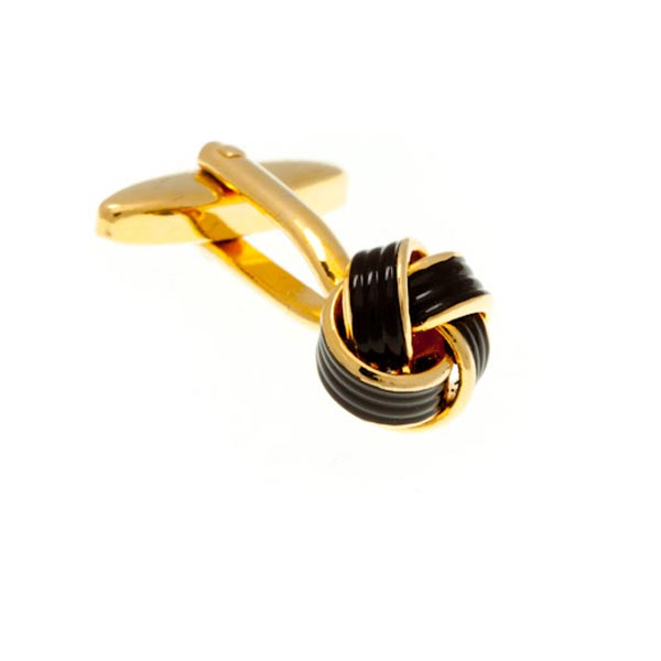 Gold Plated and Black Enamel Knot Cufflinks by Elizabeth Parker England