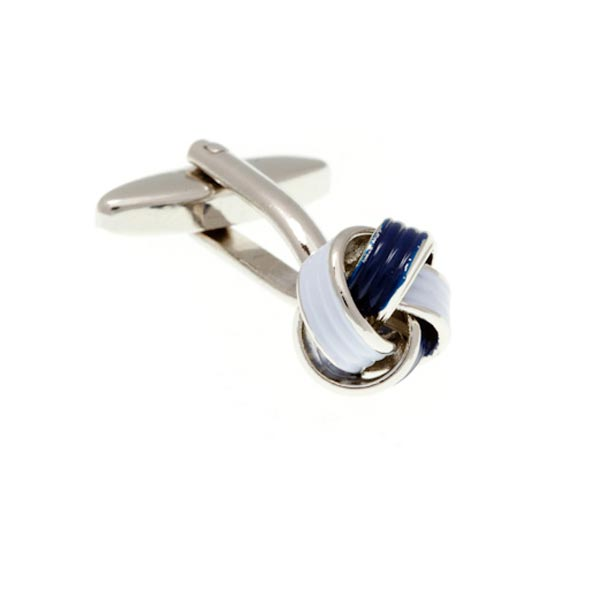 Navy Blue and White Enamel Knot Cufflinks by Elizabeth Parker England