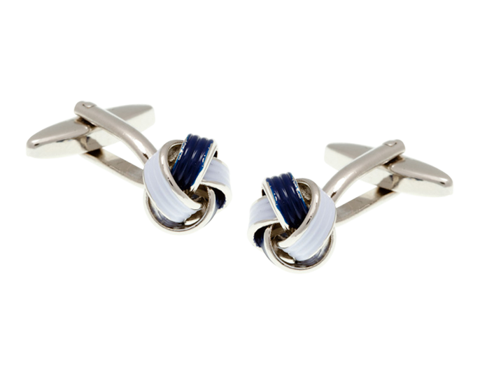 Navy Blue and White Enamel Knot Cufflinks