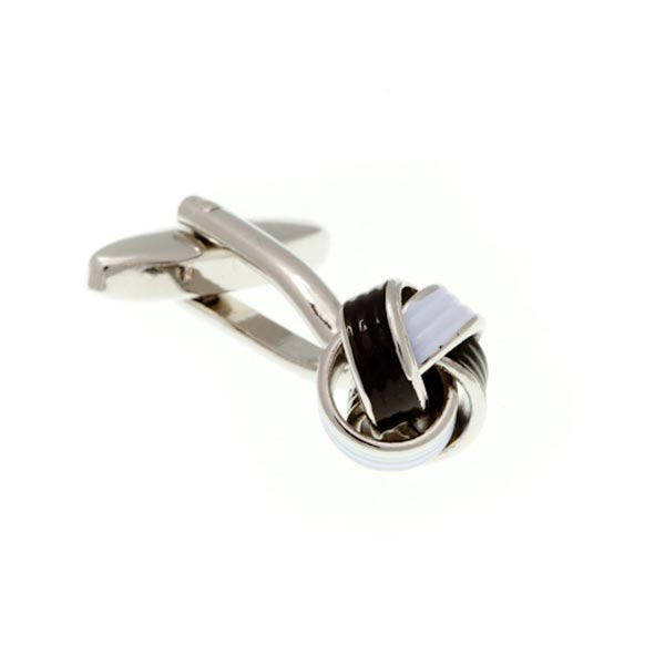 Black and White Enamel Knot Cufflinks by Elizabeth Parker England