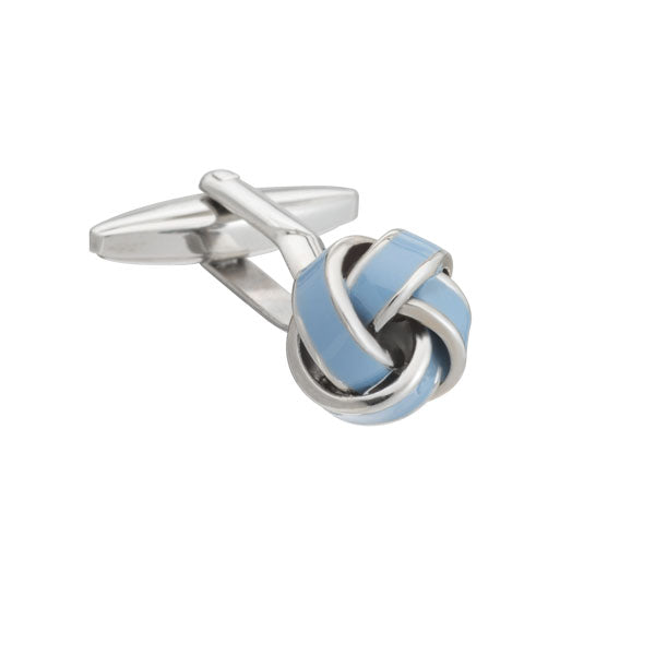 Elizabeth Parker Light Blue Enamel Knot Cufflinks