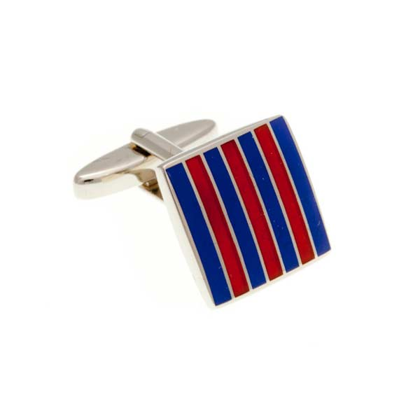 Classic Striped Blue and Orange Square Enamel Cufflinks by Elizabeth Parker England