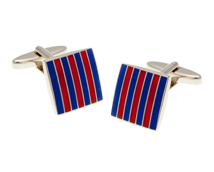 Classic Stripe Blue and Orange Square Cufflinks