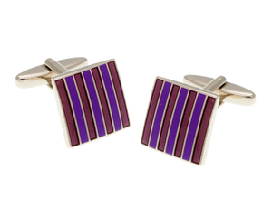 Classic Stripe Purple & Lilac Pink Square Cufflinks